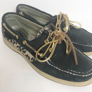 Sperry Top Siders Black Animal Print Loafers W105